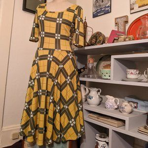 Packers LuLaRoe Nicole Green and Gold Dress